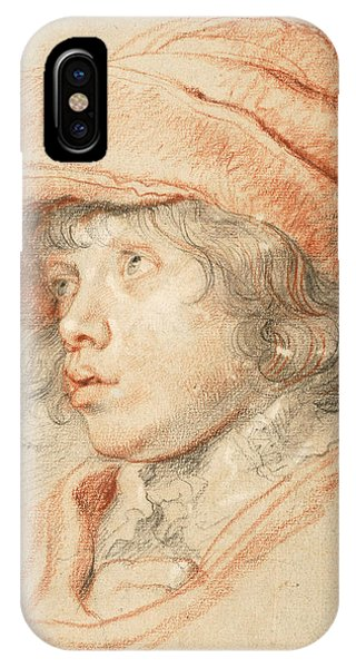 Baroque iPhone Case - Rubens's Son Nicolaas Wearing A Red Felt Cap by Peter Paul Rubens