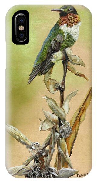 Ruby Throated Hummingbird Study IPhone Case