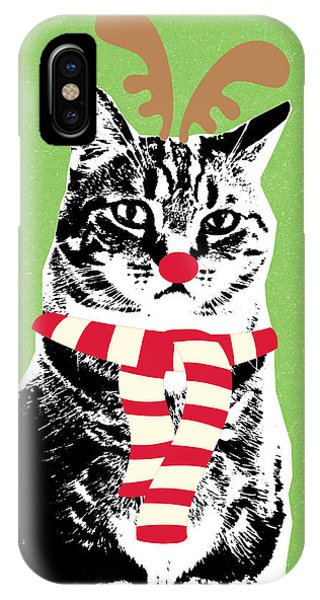 Tabby iPhone Case - Rudolph The Red Nosed Cat- Art By Linda Woods by Linda Woods