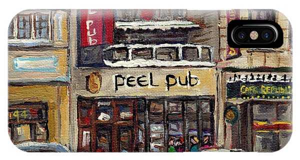 Rue Peel Montreal Winter Street Scene Paintings Peel Pub Cafe Republique Hockey Scenes Canadian Art IPhone Case