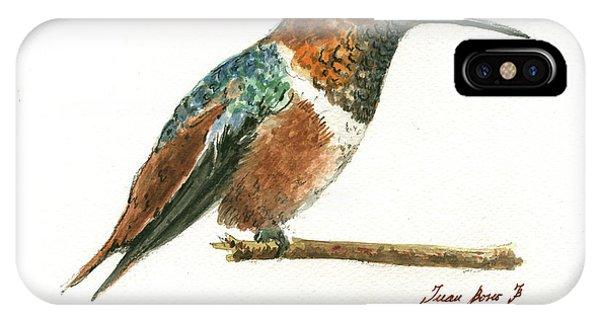 Hummingbird iPhone Case - Rufous Hummingbird Watercolor by Juan Bosco
