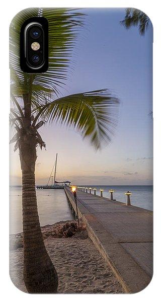 Catamaran iPhone Case - Rum Point Pier At Sunset by Adam Romanowicz