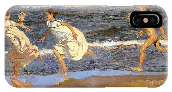 IPhone Case featuring the painting Running Along The Beach by Joaquen Sorolla y Bastida