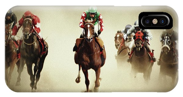 Running Horses In Dust IPhone Case