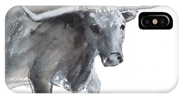 Running Texas Longhorn Watercolor Painting By Kmcelwaine IPhone Case
