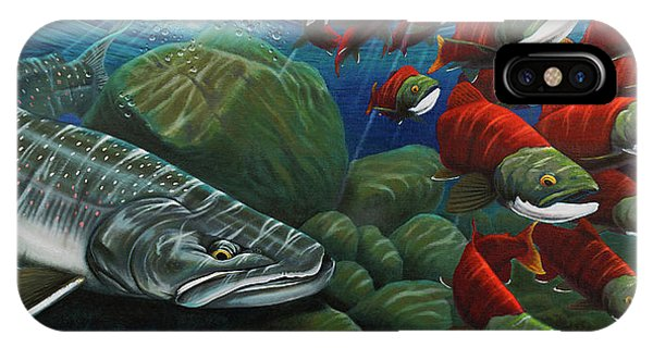 Trout iPhone Case - Running The Gauntlet by Nick Laferriere