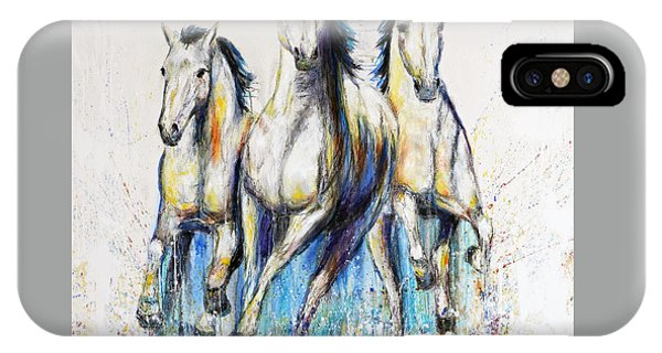 Running With The Herd Horse Painting IPhone Case