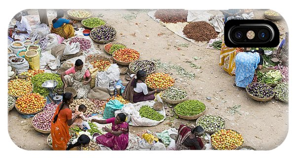 Indian Village iPhone Case - Rural Indian Food Market by Tim Gainey