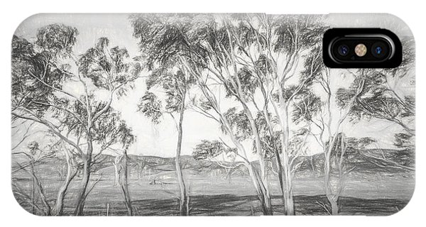 Sketch iPhone Case - Rural Landscape Pencil Sketch by Jorgo Photography - Wall Art Gallery