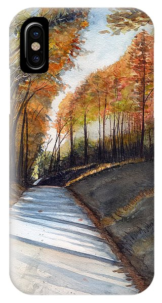Rural Route In Autumn IPhone Case