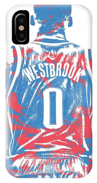 Tickets iPhone Case - Russell Westbrook Oklahoma City Thunder Pixel Art 16 by Joe Hamilton