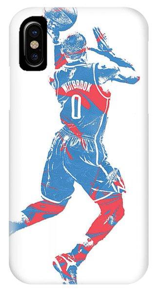 Tickets iPhone Case - Russell Westbrook Oklahoma City Thunder Pixel Art 33 by Joe Hamilton