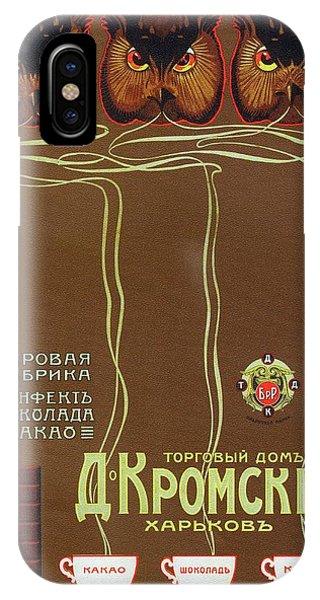 Advertising iPhone Case - Russian Vintage Coffee Poster - Owls - Vintage Advertising Poster by Studio Grafiikka