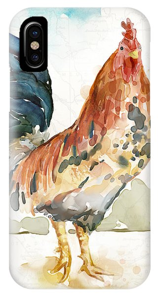 Rooster iPhone Case - Rust Rooster by Mauro DeVereaux