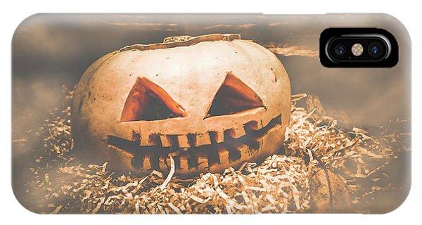 Soft Focus iPhone Case - Rustic Barn Pumpkin Head In Horror Fog by Jorgo Photography - Wall Art Gallery