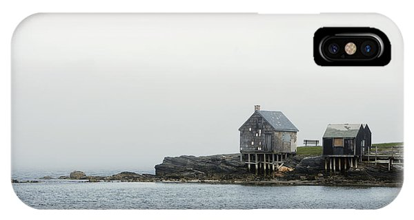 Cabin iPhone Case - Rustic Cabin On Stilts On Rocky Shore by Gillham Studios