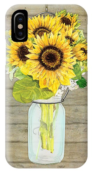 Sunflower iPhone Case - Rustic Country Sunflowers In Mason Jar by Audrey Jeanne Roberts