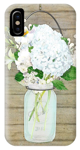 White Fence iPhone Case - Rustic Country White Hydrangea N Matillija Poppy Mason Jar Bouquet On Wooden Fence by Audrey Jeanne Roberts