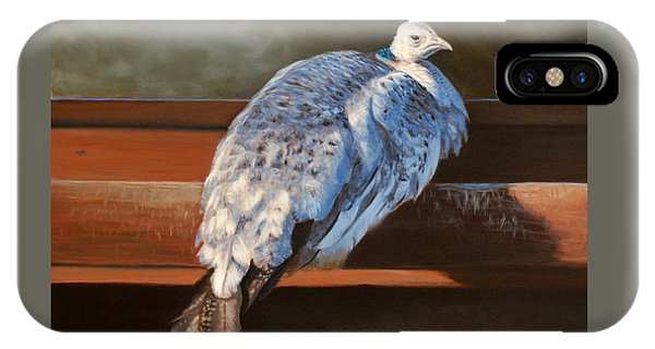 Rustic Elegance - White Peahen IPhone Case