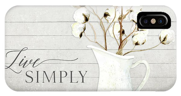 Rustic Farmhouse Cotton Boll Milk Pitcher Live Simply IPhone Case