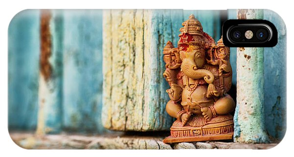 Indian Village iPhone Case - Rustic Ganesha by Tim Gainey