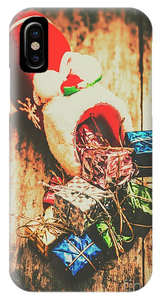 Xmas iPhone Case - Rustic Red Xmas Stocking by Jorgo Photography - Wall Art Gallery
