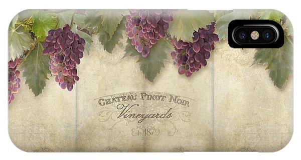 Rustic Vineyard - Pinot Noir Grapes IPhone Case