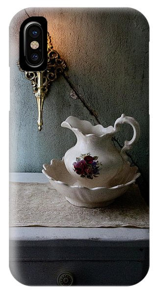 Rustic Water Closet With Brass Sconce And A Pretty Floral Patter IPhone Case