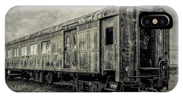 Passenger Train iPhone Case - Rusting Passenger Car Ft Bragg by Garry Gay