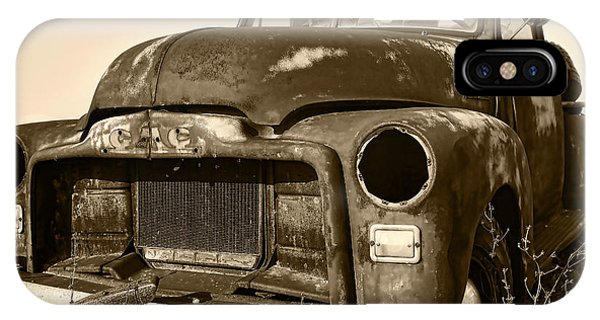 Rusty But Trusty Old Gmc Pickup Truck - Sepia IPhone Case