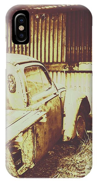 Truck iPhone X Case - Rusty Pickup Garage by Jorgo Photography - Wall Art Gallery