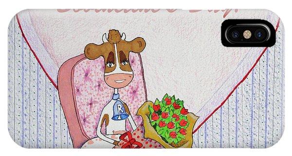 Ruthie-moo Flowers Happy Bovinetine's Day IPhone Case