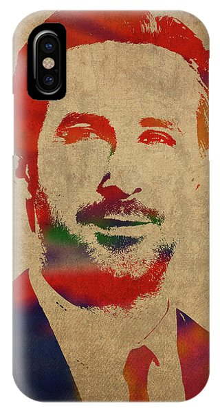 Goslings iPhone Case - Ryan Gosling Watercolor Portrait by Design Turnpike