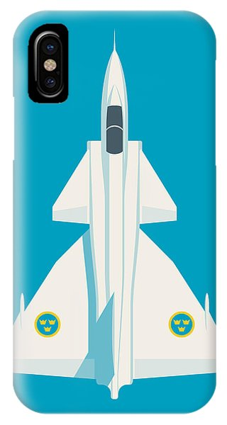 Jet iPhone Case - J37 Viggen Swedish Air Force Fighter Jet Aircraft - Blue by Ivan Krpan