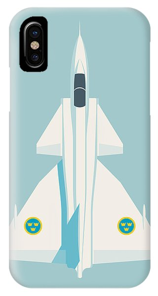 Jet iPhone Case - J37 Viggen Swedish Air Force Fighter Jet Aircraft - Sky by Ivan Krpan