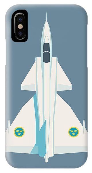 Jet iPhone Case - J37 Viggen Swedish Air Force Fighter Jet Aircraft - Slate by Ivan Krpan