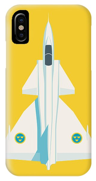 Jet iPhone Case - J37 Viggen Swedish Air Force Fighter Jet Aircraft - Yellow by Ivan Krpan