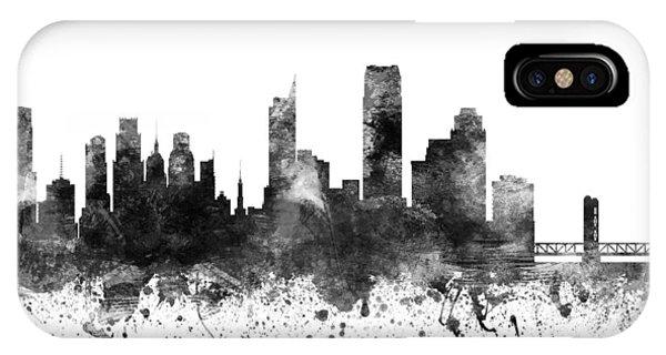 Sacramento iPhone X Case - Sacramento California Cityscape 02bw by Aged Pixel