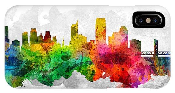 Sacramento iPhone X Case - Sacramento California Cityscape 12 by Aged Pixel