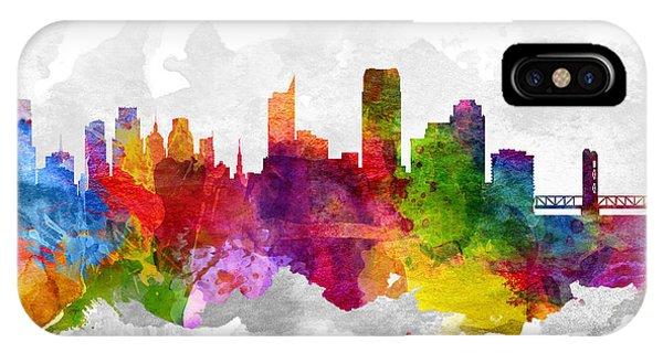 Sacramento iPhone X Case - Sacramento California Cityscape 13 by Aged Pixel