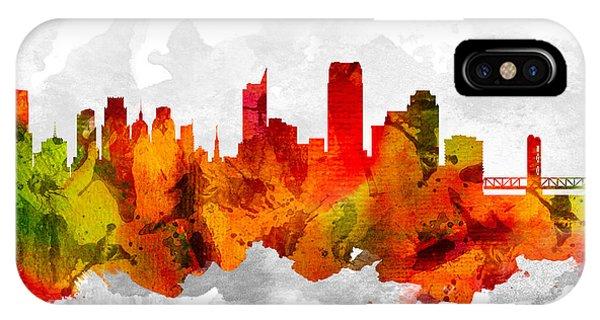 Sacramento iPhone X Case - Sacramento California Cityscape 15 by Aged Pixel