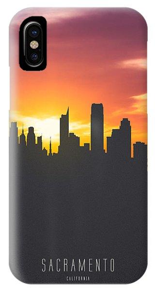 Sacramento iPhone X Case - Sacramento California Sunset Skyline 01 by Aged Pixel