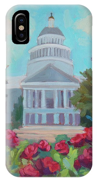 Capitol iPhone Case - Sacramento Capitol And Roses by Diane McClary