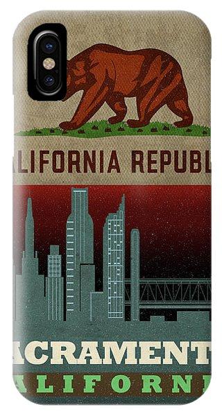 Sacramento iPhone X Case - Sacramento City Skyline State Flag Of California Art Poster Series 023 by Design Turnpike