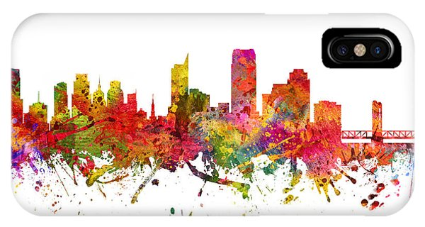 Sacramento iPhone X Case - Sacramento Cityscape 08 by Aged Pixel