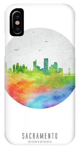 Sacramento iPhone X Case - Sacramento Skyline Uscasa20 by Aged Pixel
