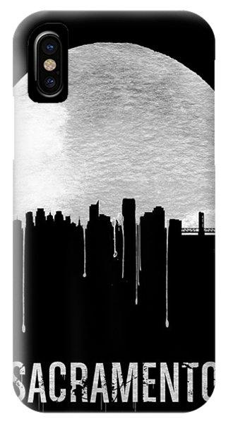 Sacramento iPhone X Case - Sacramento Skyline Black by Naxart Studio