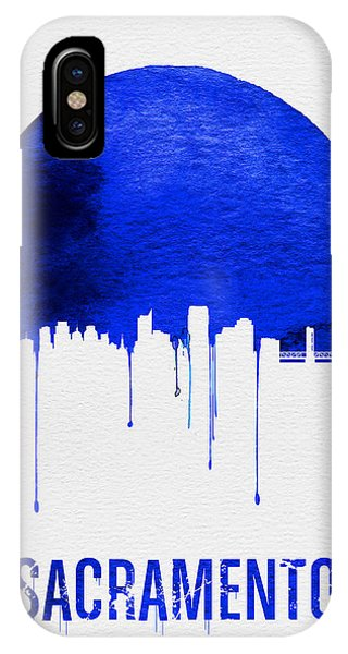 Sacramento iPhone X Case - Sacramento Skyline Blue by Naxart Studio