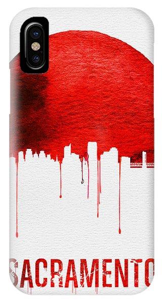 Sacramento iPhone X Case - Sacramento Skyline Red by Naxart Studio