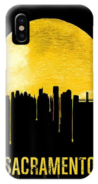 Sacramento iPhone X Case - Sacramento Skyline Yellow by Naxart Studio